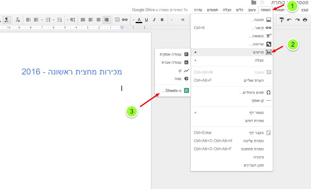 הוספת תרשים למסמך Google Docs